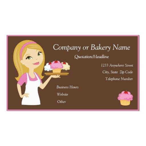 Blonde/Pink Cupcake Baker/Bakery Business Card