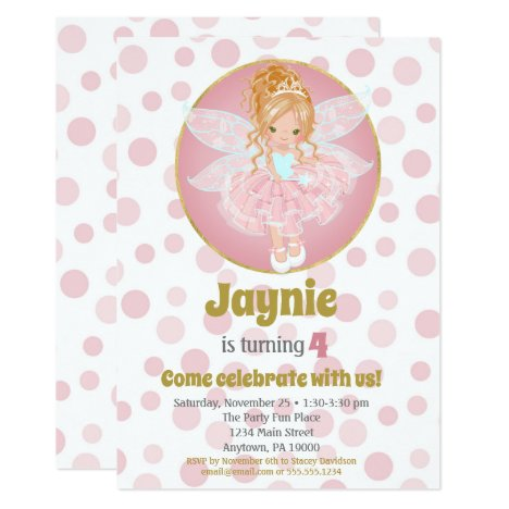Blonde Pink Fairy Girls Birthday Invitation
