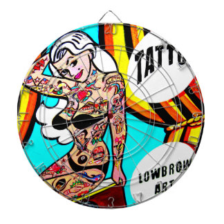 blonde pinup with tats dart board