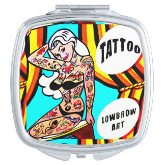 blonde pinup with tattoos compact mirror