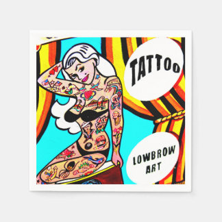 blonde pinup with tattoos napkins