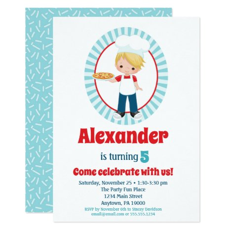 Blonde Pizza Party Boys Birthday Invitation