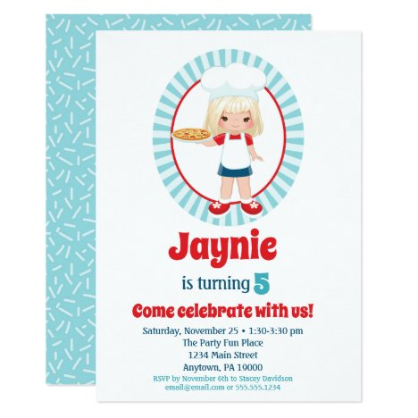 Blonde Pizza Party Girl - Pizza Birthday Invitation
