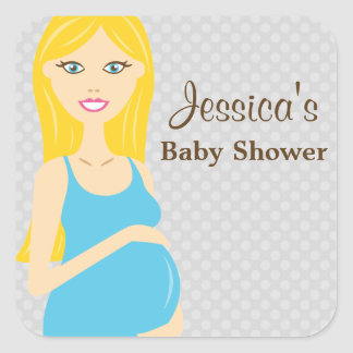 Blonde Pregnant Woman In Blue Dress Baby Shower Square Sticker