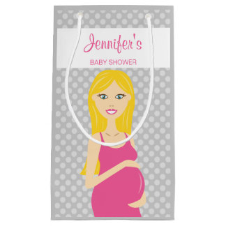 Blonde Pregnant Woman In Pink Dress Baby Shower Small Gift Bag