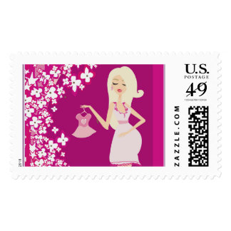 blonde pregnant woman postage postal stamps