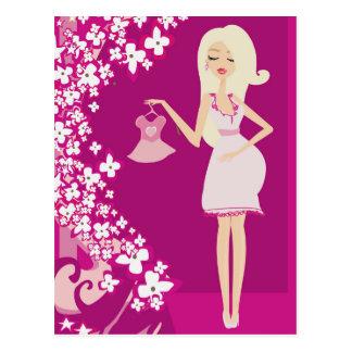 blonde pregnant woman postcard