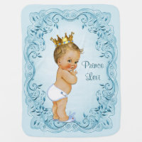 Blonde Prince Blue Leaves Personalized Swaddle Blanket