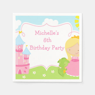 Blonde Princess and Dragon Birthday Party Paper Napkin