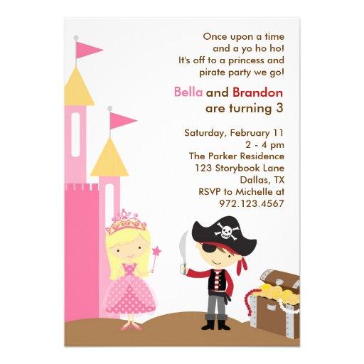 Blonde Princess and Pirate Invitation Personalized Announcement