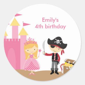Blonde Princess and Pirate Stickers Sticker