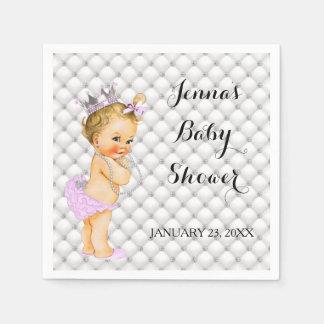 Blonde Princess Baby Girl Diamonds Lavender Paper Napkin