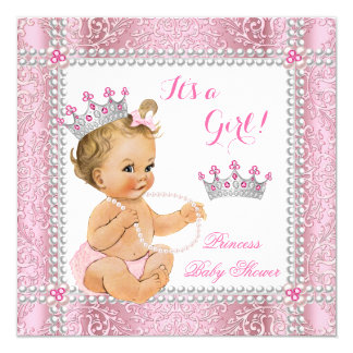 Blonde Princess Baby Shower Girl Pink Pearl Lace Card