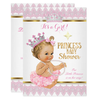 Blonde Princess Girl Baby Shower Pink Gold Tutu Card