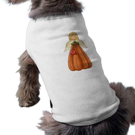 blonde pumpkin angel dog t-shirt