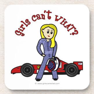 Blonde Race Car Driver Drink Coaster