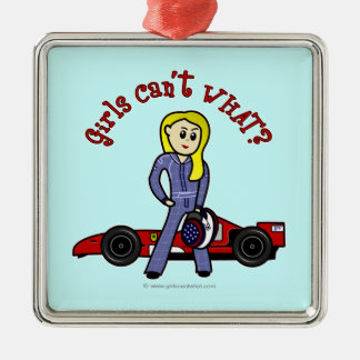 Blonde Race Car Driver Girl Metal Ornament