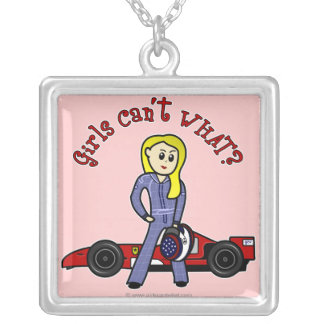 Blonde Race Car Driver Square Pendant Necklace