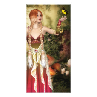 Blonde Red Hair Girl with Butterfly Card