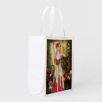 Blonde Red Hair Girl with Butterfly Grocery Bag