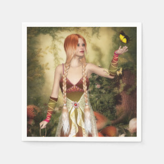 Blonde Red Hair Girl with Butterfly Standard Cocktail Napkin