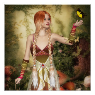 Blonde Red Hair Girl with Butterfly Poster