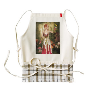 Blonde Red Hair Girl with Butterfly Zazzle HEART Apron