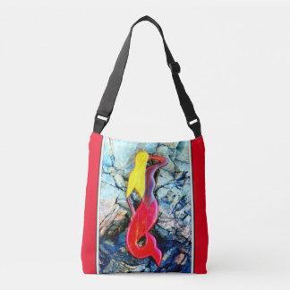 blonde red-tailed mermaid crossbody bag
