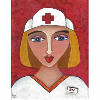 Blonde RN - folk art nurse Christmas ornament