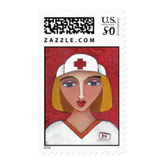 Blonde RN - nursing postage stamp