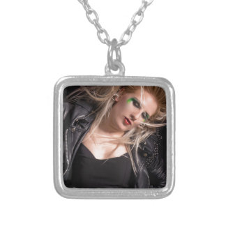 Blonde rocker woman silver plated necklace