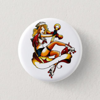 Blonde Roller Girl Sailor Pinback Button