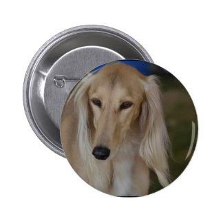 Blonde Saluki Dog Button