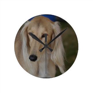 Blonde Saluki Dog Round Clock