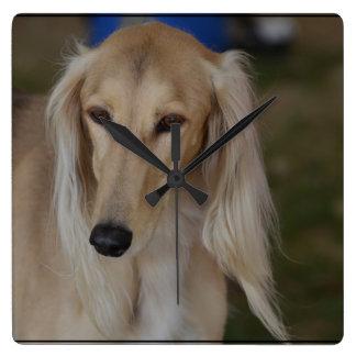 Blonde Saluki Dog Square Wall Clock