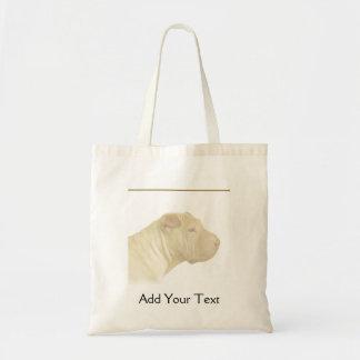 Blonde Shar Pei Portrait on White Bag