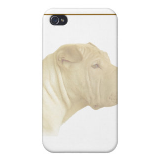 Blonde Shar Pei Portrait on White iPhone 4/4S Covers