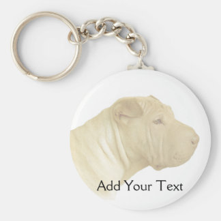 Blonde Shar Pei Portrait on White Key Chain