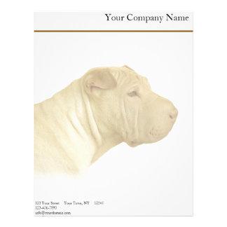 Blonde Shar Pei Portrait on White Letterhead Template