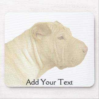 Blonde Shar Pei Portrait on White Mousepad
