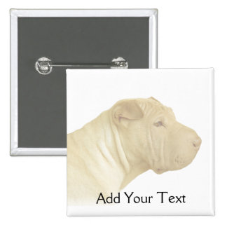 Blonde Shar Pei Portrait on White Pinback Buttons