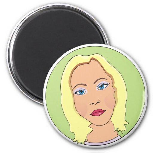 Blonde Short Hair Woman 2 Inch Round Magnet