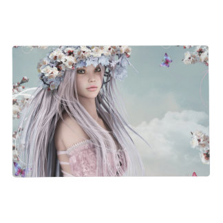 Blonde silver hair model in light pink dress placemat