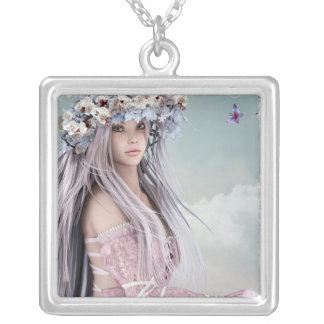 Blonde silver hair model in light pink dress square pendant necklace