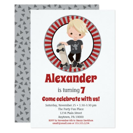 Blonde Skateboard Boys Birthday Invitation