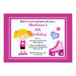 Blonde Skater Girl Skating Birthday Party 5x7 Paper Invitation Card