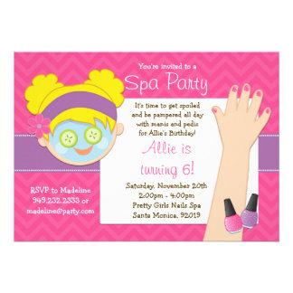 Blonde Spa Birthday Party Invitation