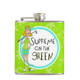 Blonde Supreme on the green Hip Flask