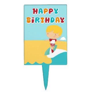 Blonde Surfer Birthday Cake Topper