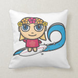 Blonde Surfer Girl American Pillow/Cushion